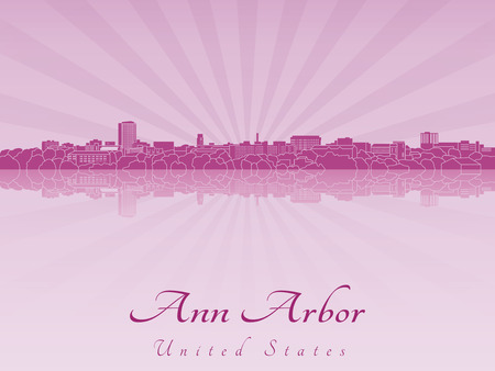 arbor: Ann Arbor skyline radiant in purple orchid in editable vector file Illustration