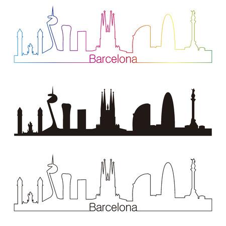 Barcelona skyline with rainbow linear style in editable vector file Vettoriali