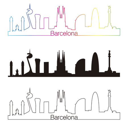 Barcelona skyline with rainbow linear style in editable vector file Illustration