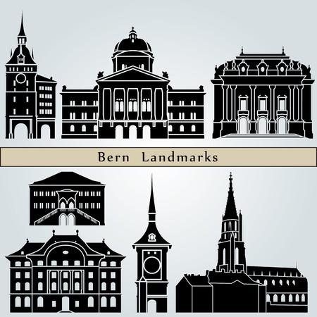 Berne monuments et monuments isolés sur fond bleu dans le fichier vectoriel éditable Banque d'images - 38948798