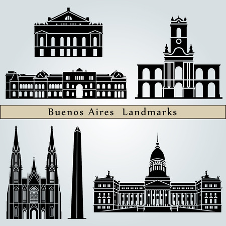 buenos aires: Buenos Aires landmarks and monuments isolated on blue background in editable vector file Illustration