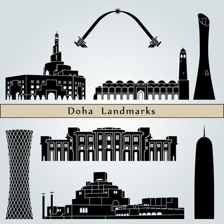 Doha landmarks and monuments isolated on blue background in editable vector file Illustration