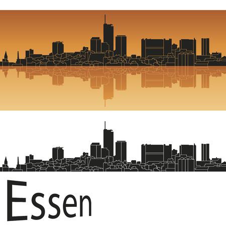 e guitar: Essen skyline in orange background in editable vector file