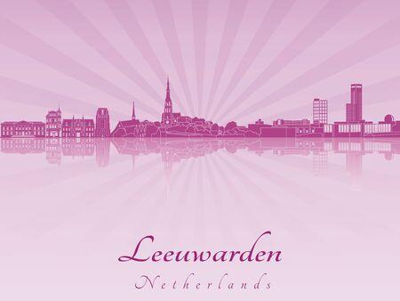 leeuwarden: Leeuwarden skyline radiant in purple orchid in editable vector file Illustration