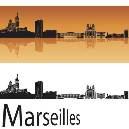 Marseilles Skyline im orangefarbenen Hintergrund in bearbeitbare Vektorgrafiken Datei Illustration