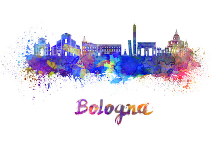 bologna: Bologna skyline in watercolor splatters with clipping path Stock Photo