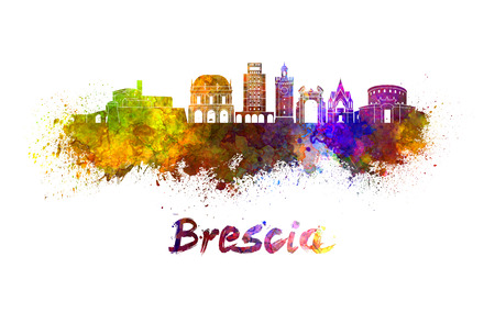 Brescia skyline in watercolor splatters with clipping path