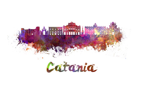 Catania skyline in watercolor splatters with clipping path