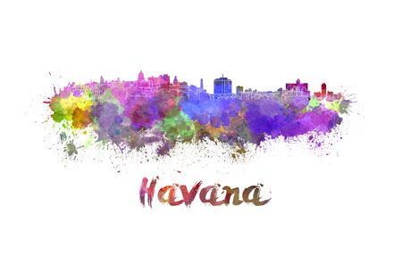 havana: Havana skyline in watercolor splatters with clipping path