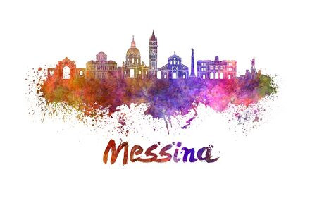 Messina skyline in watercolor splatters with clipping path