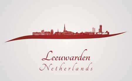 leeuwarden: Leeuwarden skyline in red and gray background in editable vector file