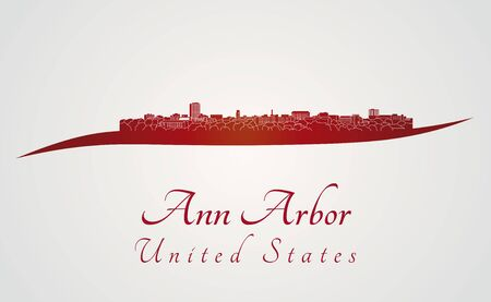 arbor: Ann Arbor skyline in red and gray background in editable vector file