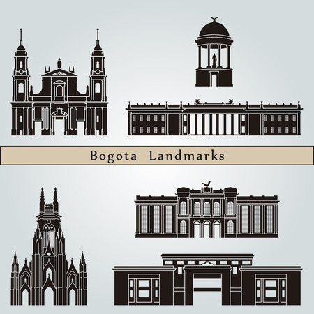 Bogota landmarks and monuments isolated on blue background in editable vector file