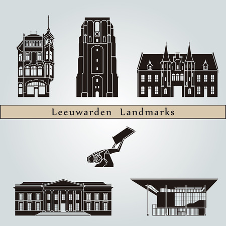 leeuwarden: Leeuwarden landmarks and monuments isolated on blue background in editable vector file