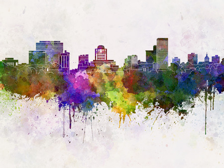 Columbia skyline in watercolor background