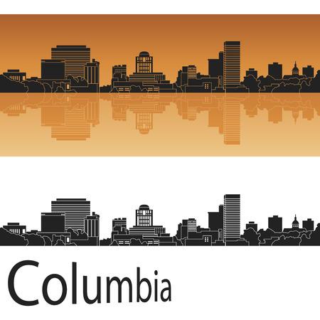 Columbia skyline in orange background in editable vector file