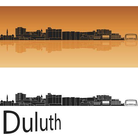 Duluth skyline in orange background in editable vector file Çizim