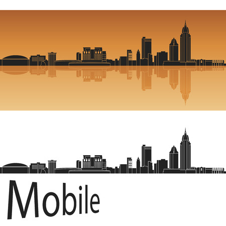 Mobile skyline in orange background in editable vector file