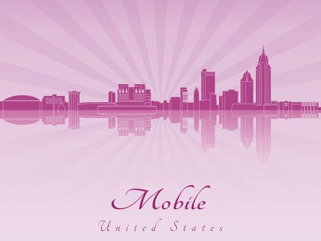 radiant: Mobile skyline in purple radiant orchid in editable vector file