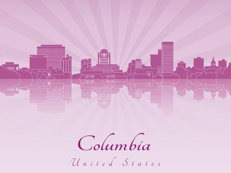編集可能なベクトル ファイルで紫色を放射した蘭のコロンビア スカイライン  イラスト・ベクター素材