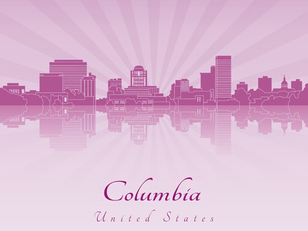 Columbia skyline in purple radiant orchid in editable vector file