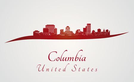 編集可能なベクトル ファイルの赤と灰色の背景でコロンビア スカイライン