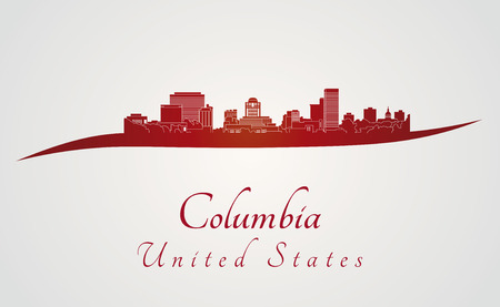 Columbia skyline in red and gray background in editable vector file 向量圖像