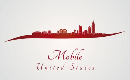 alabama: Mobile skyline in red and gray background in editable vector file