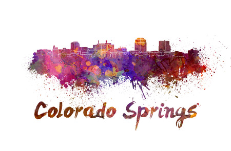 colorado springs: Colorado Springs skyline in watercolor splatters with clipping path Stock Photo