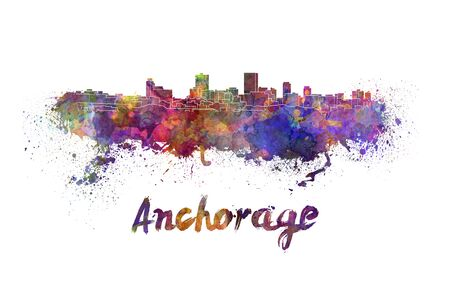 anchorage: Anchorage skyline in watercolor splatters with clipping path