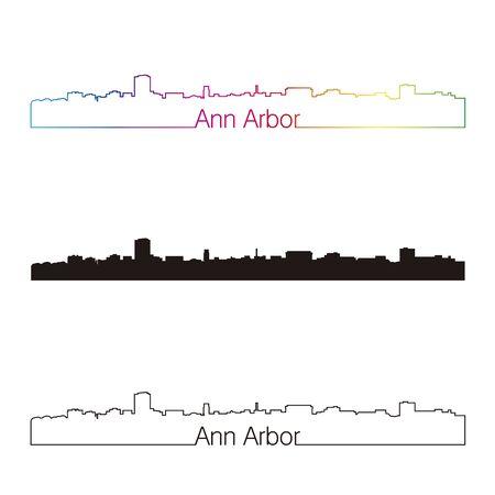arbor: Ann Arbor skyline linear style with rainbow in editable vector file