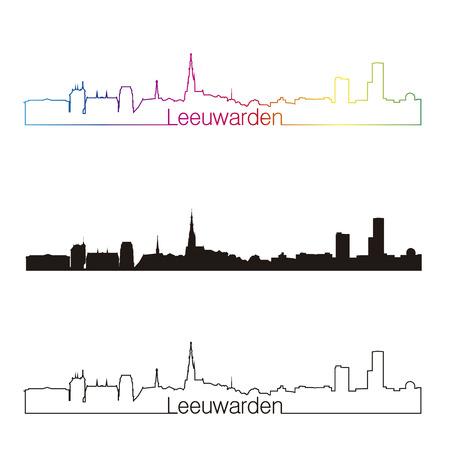 leeuwarden: Leeuwarden skyline linear style with rainbow in editable vector file