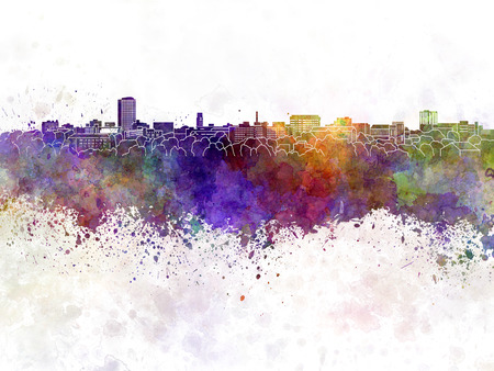 arbor: Ann Arbor skyline in watercolor background