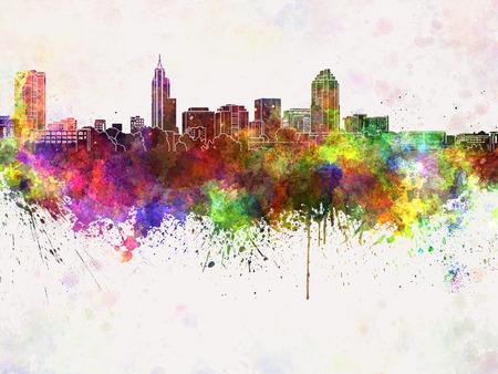 Raleigh skyline in watercolor background Standard-Bild