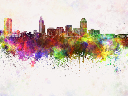 Raleigh skyline in watercolor background Stock Photo