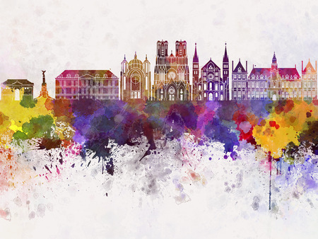 Reims skyline in watercolor background