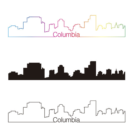 columbia: Columbia skyline linear style with rainbow in editable vector file