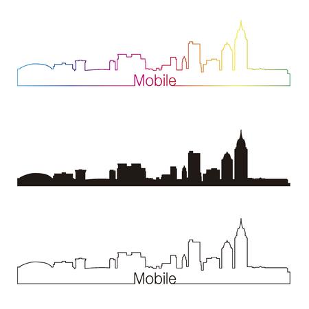 alabama: Mobile skyline linear style with rainbow in editable vector file Illustration