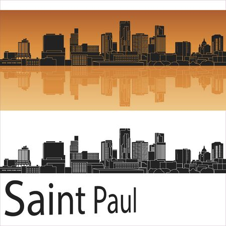 paul: Saint Paul skyline in orange background in editable vector file