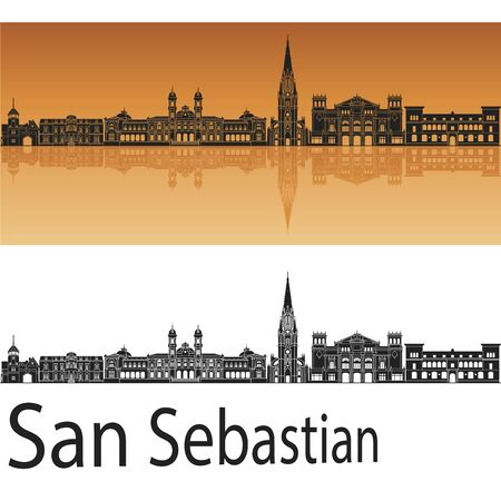san sebastian: San Sebastian skyline in orange background in editable vector file
