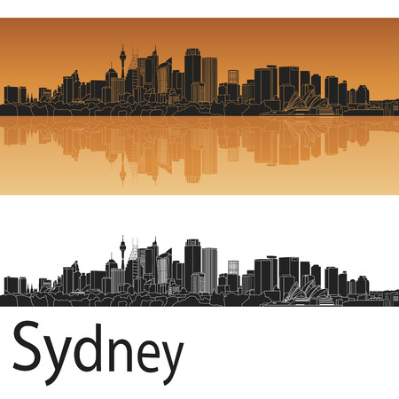 sydney: Sydney V2 skyline in orange background in editable vector file