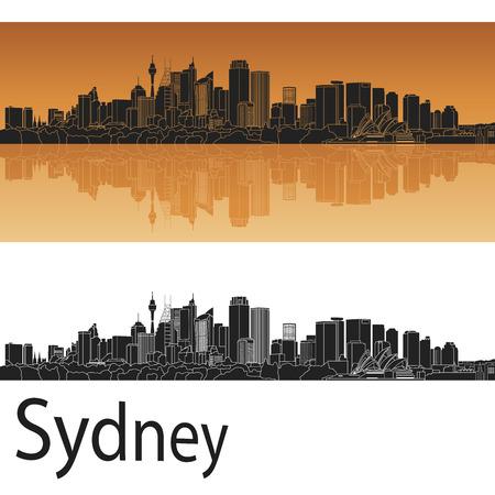 sydney skyline: Sydney V2 skyline in orange background in editable vector file
