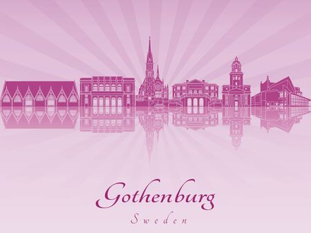 gothenburg: Gothenburg skyline in purple radiant orchid in editable vector file