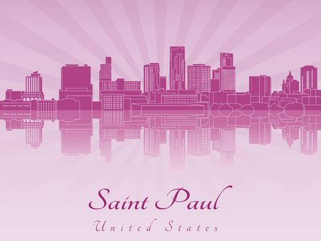paul: Saint Paul skyline in purple radiant orchid in editable vector file