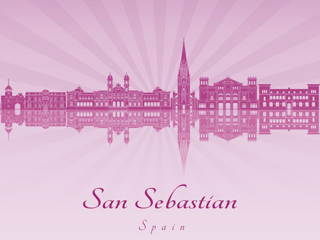 san sebastian: San Sebastian skyline in purple radiant orchid in editable vector file