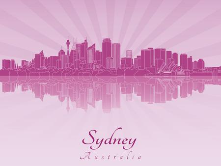sydney skyline: Sydney V2  skyline in purple radiant orchid in editable vector file Illustration