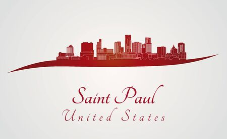 paul: Saint Paul skyline in red and gray background in editable vector file Illustration