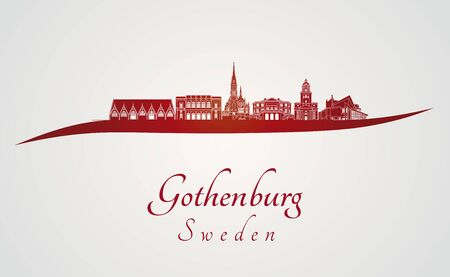 gothenburg: Gothenburg skyline in red and gray background in editable vector file