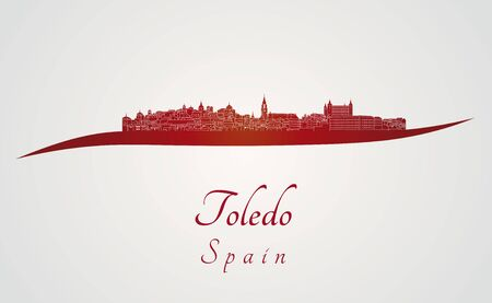 Toledo skyline in red and gray background in editable vector file