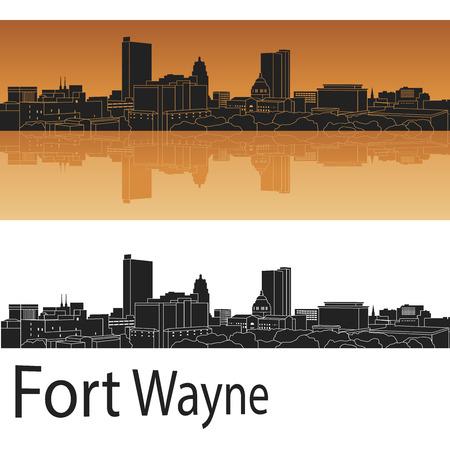 編集可能なベクトル ファイルにオレンジ色の背景でフォート ウェイン スカイライン